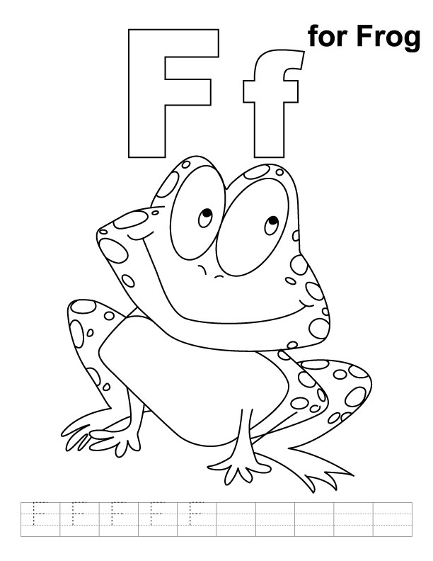 F for frog coloring page with handwriting practice