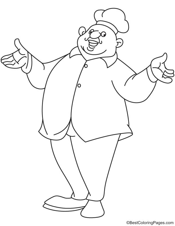 Fat Chef Coloring Page Download Free Fat Chef Coloring Page For