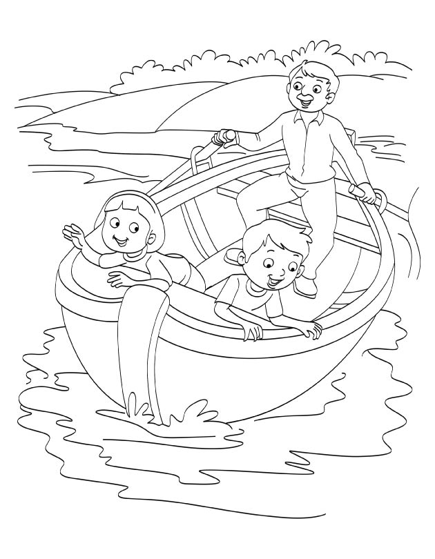 Father and kids enjoying boating