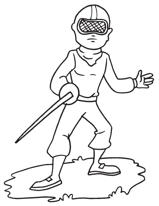 Fencer with sword coloring page