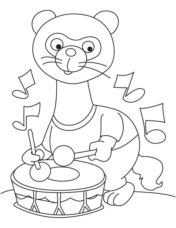 Ferret with drum coloring page download free ferret with for Ferret coloring pages