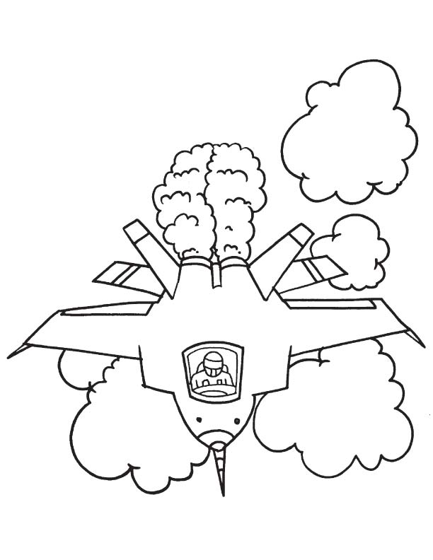 Printable fighter plane coloring page