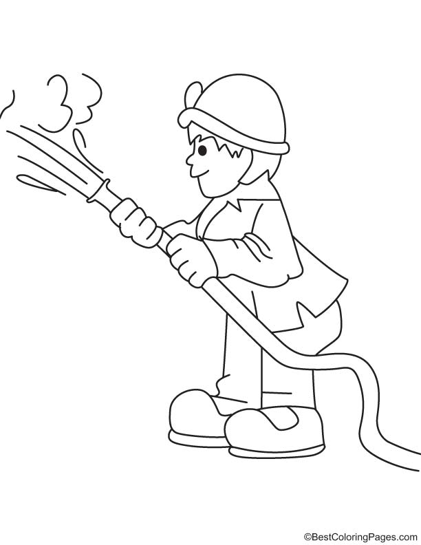 Fire man coloring page