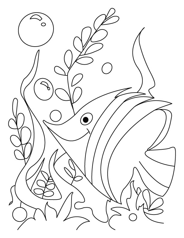 fish gush in flower rush coloring page - Tropical Fish Coloring Pages