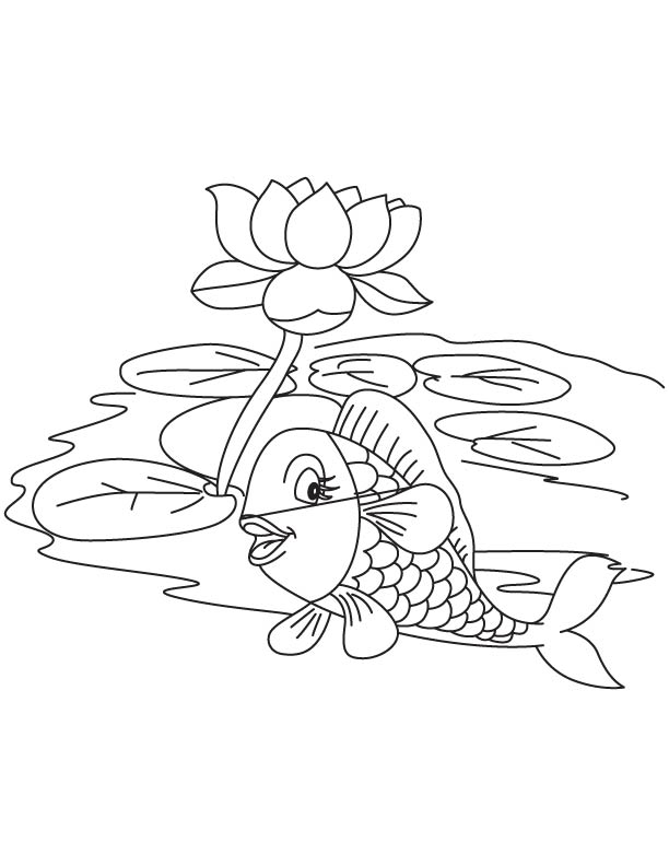 Fish With Lotus In Lake Coloring Page