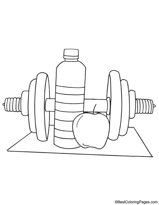 Fitness objects coloring page