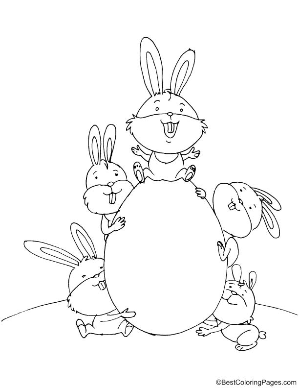 Five bunnies with egg coloring page