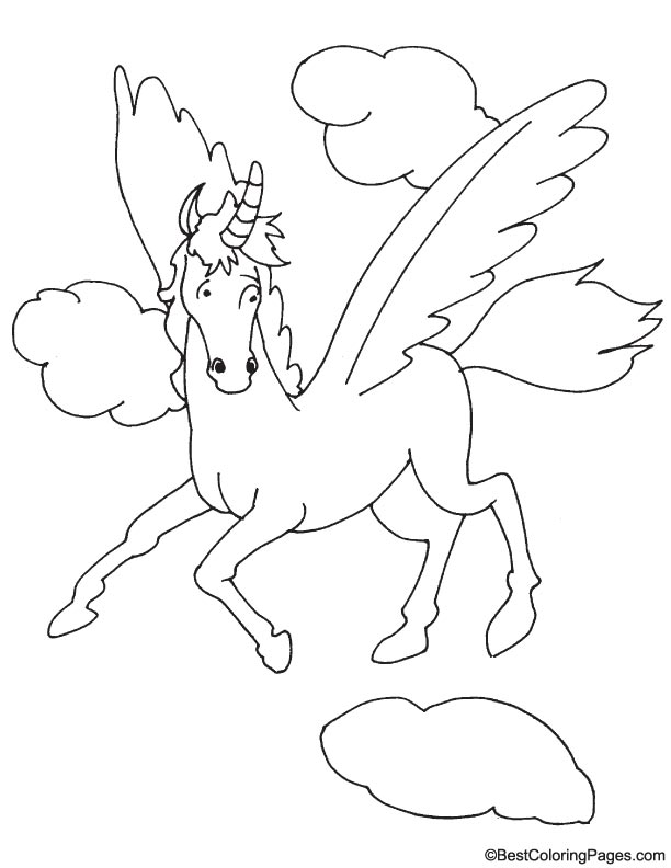 Flying horse Pegasus coloring page