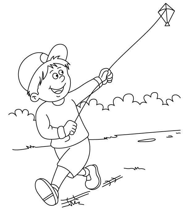 flying kite coloring page - Kite Coloring Page