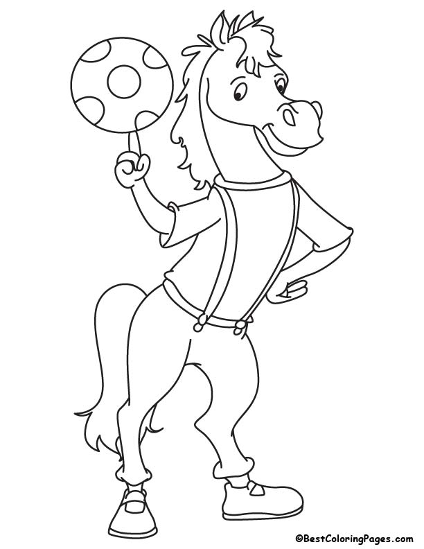 Footballer horse coloring page