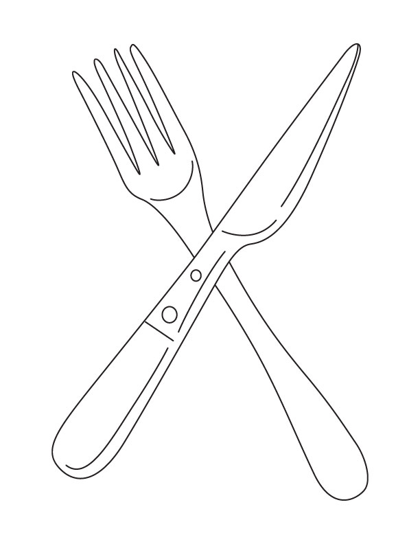 Fork and knife coloring page Download Free Fork and knife