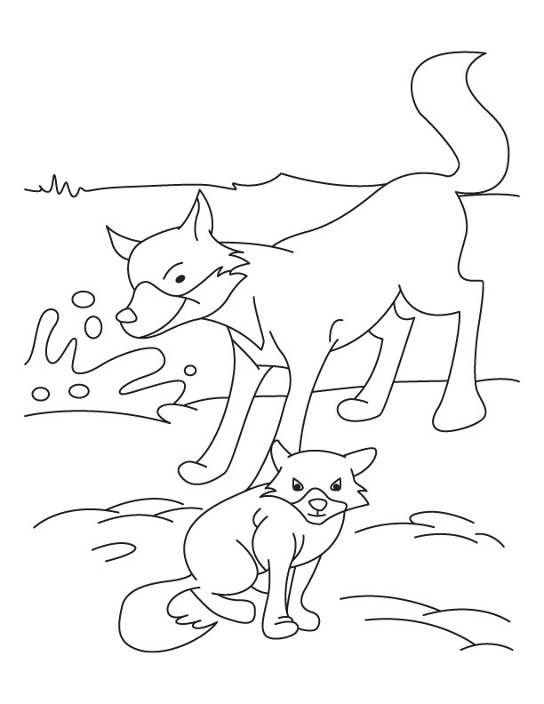 Fox and Cub coloring page