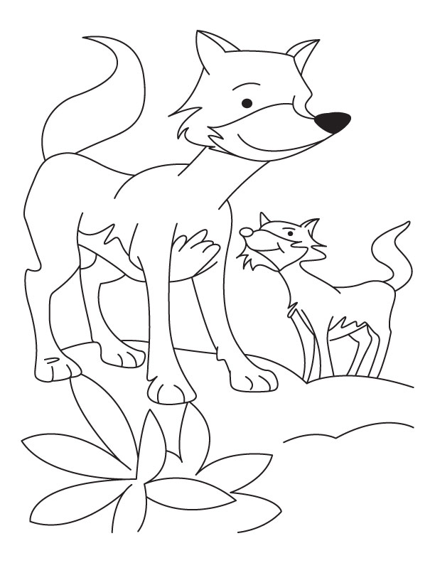 Fox with cub coloring pages  Download Free Fox with cub coloring