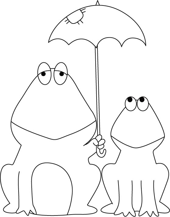 Frog and baby frog, sharing shielder coloring pages