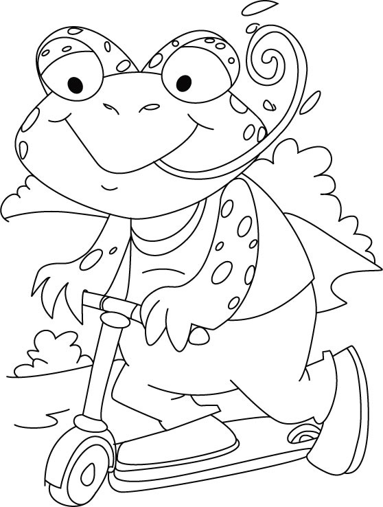 Frogs new bicycle coloring pages