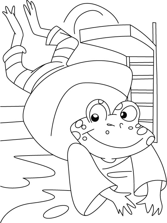Frog diving coloring page