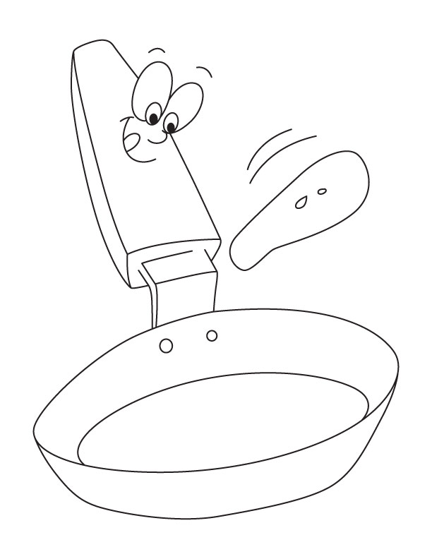 To Frying Pan Coloring Pages Pan Coloring Book