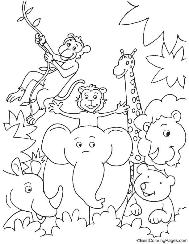 Fun in jungle coloring page
