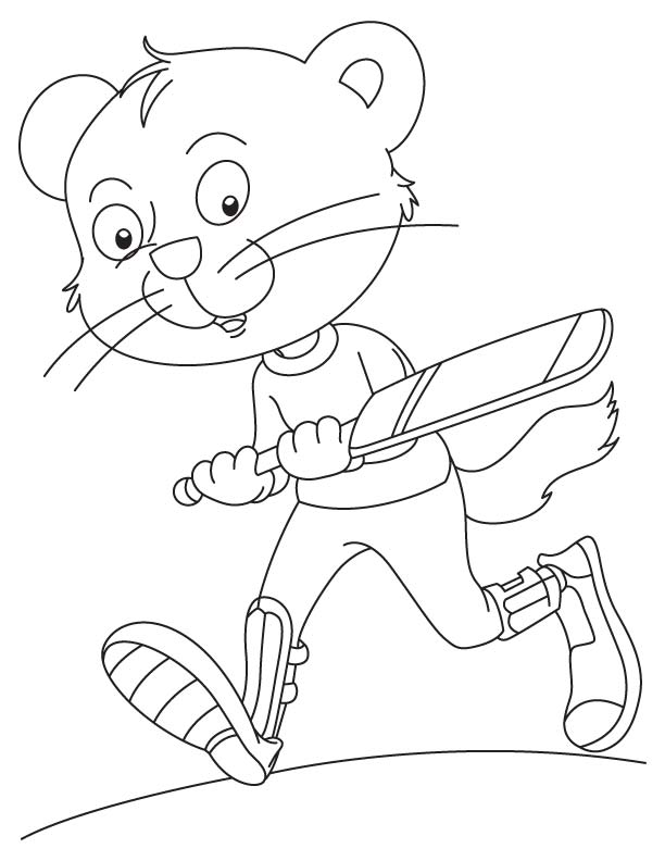 Funky cat playing cricket coloring page