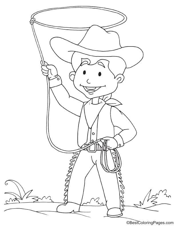 Funny cowboy coloring page
