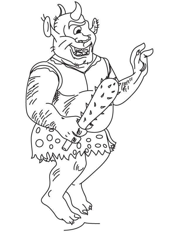 Funny cyclop coloring page