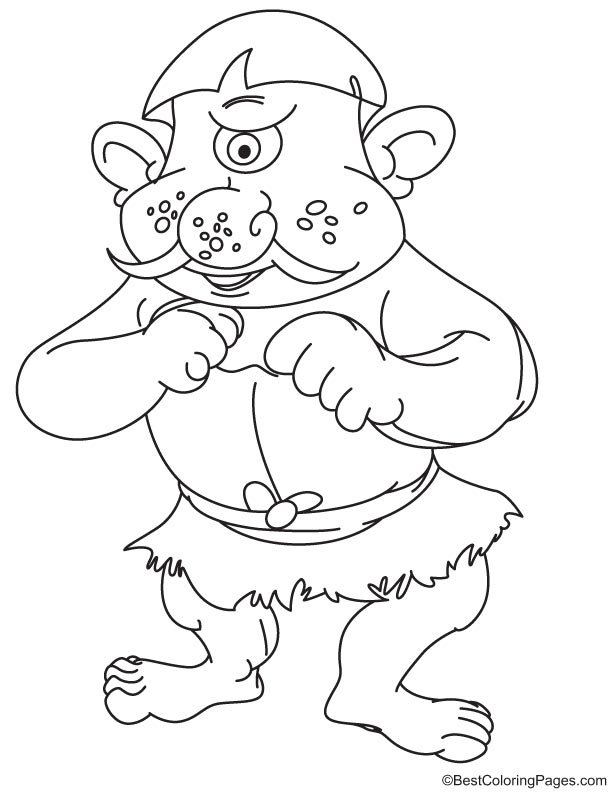 Funny cyclops coloring page
