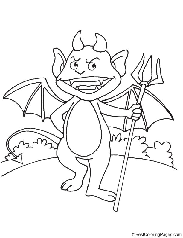 Funny devil monster coloring page