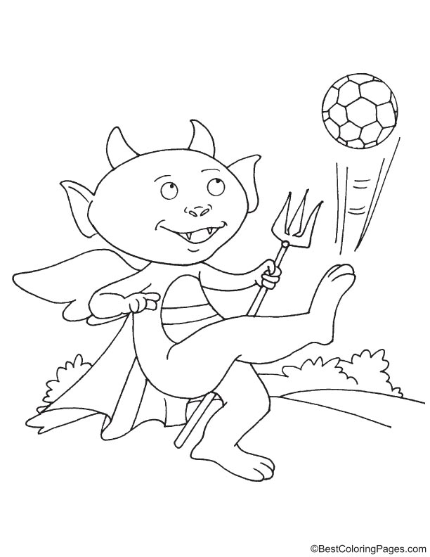 Funny devil playing football coloring page