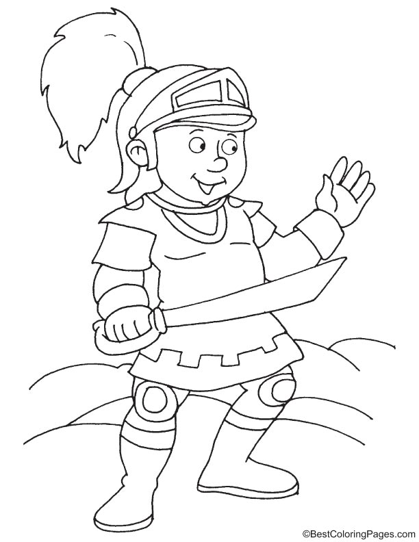 Funny knight coloring sheet