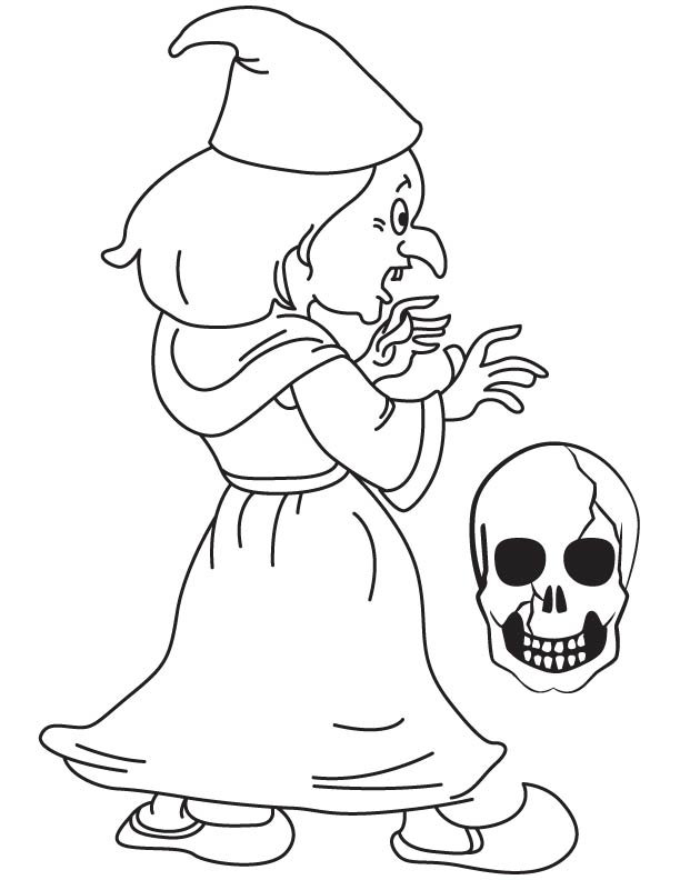 Funny witch coloring page