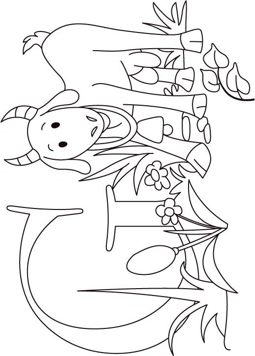 G for goat coloring page for kids