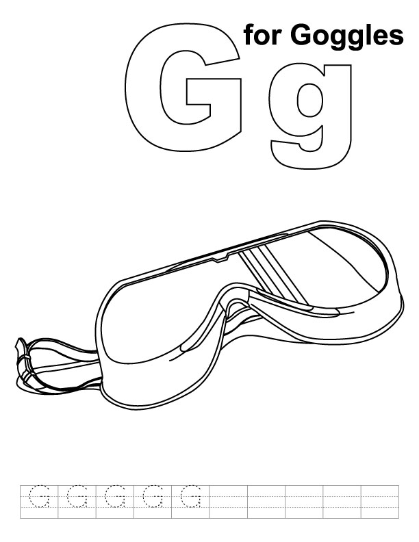 G For Goggles Coloring Page With Handwriting Practice