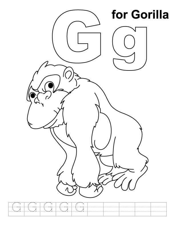 G for gorilla coloring page with