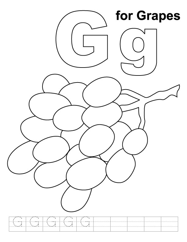 G for grapes coloring page with handwriting practice