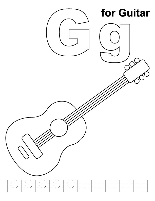 g for guitar coloring page with handwriting practice - Guitar Coloring Pages