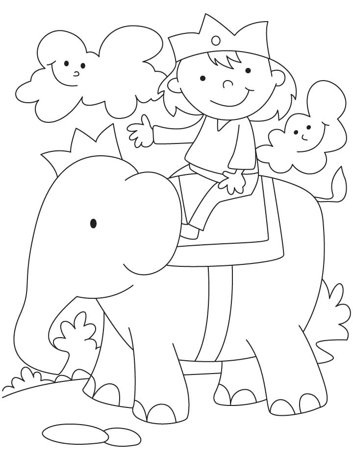 Elephant riding coloring pages