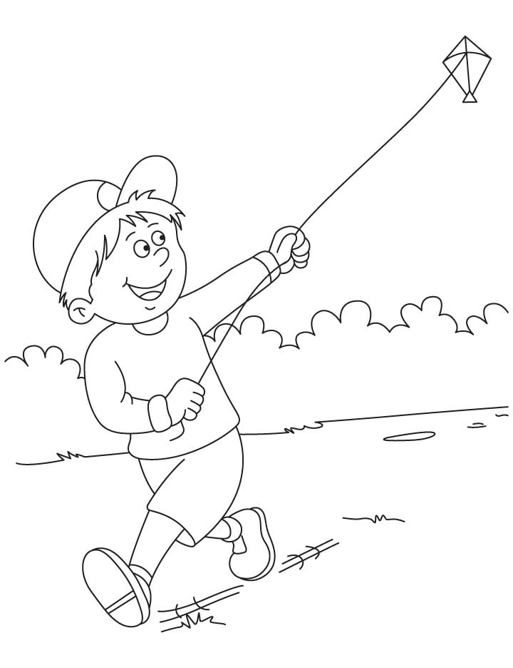 Raju Flying A Kite Coloring Pages