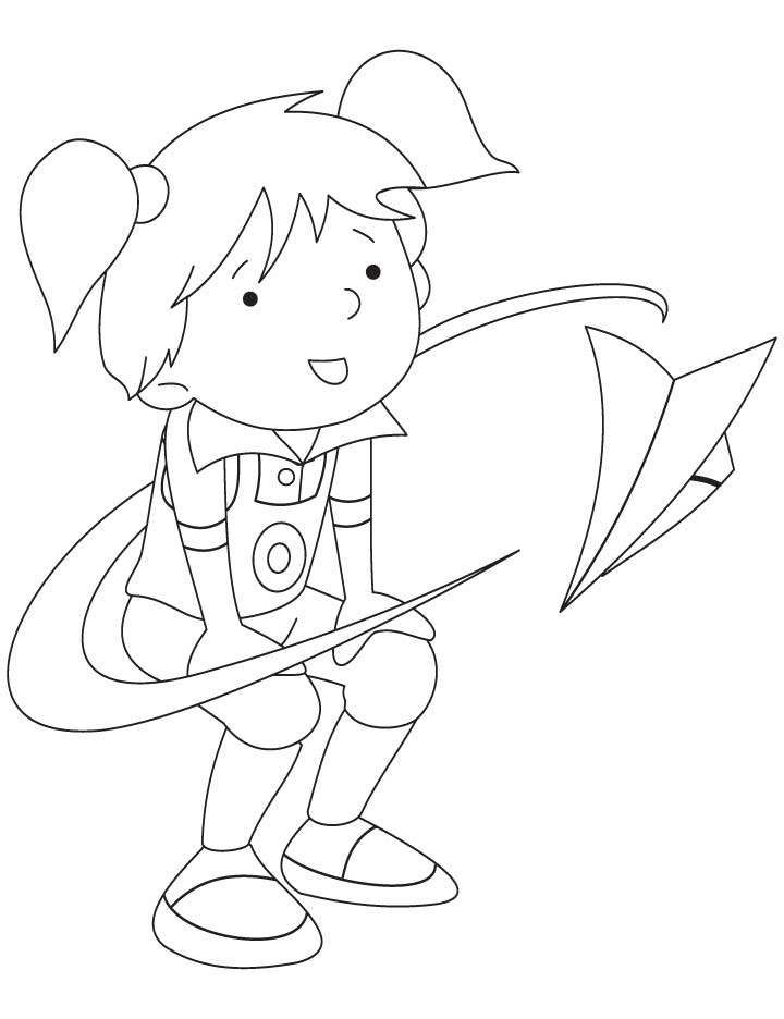 Pinki flying a paper airplane coloring pages
