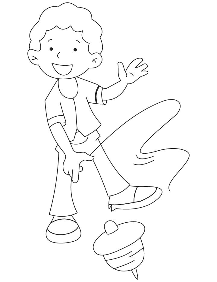 Rinku playing with top coloring pages