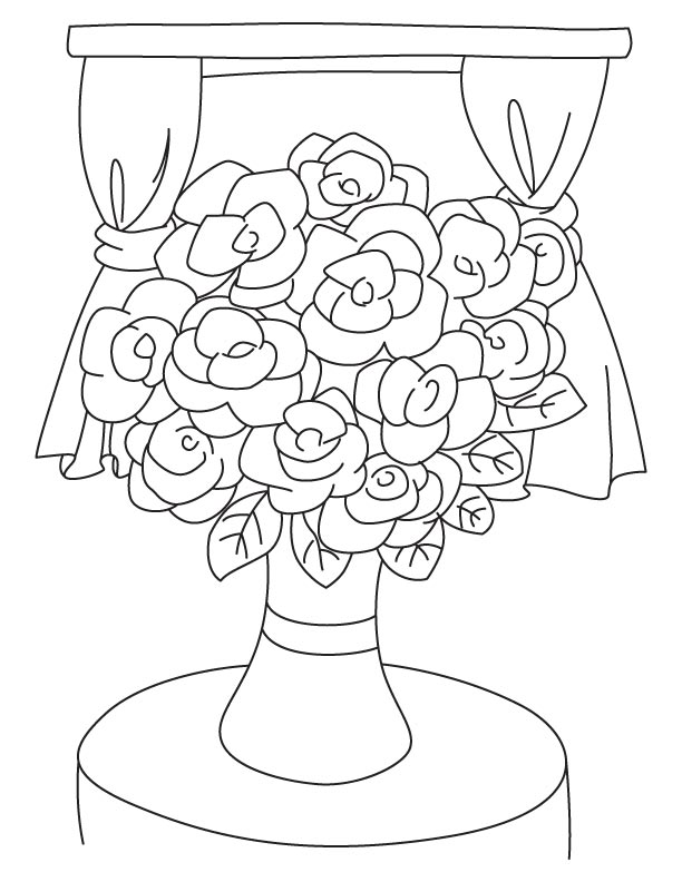 Gardenia flower vase coloring page  Download Free
