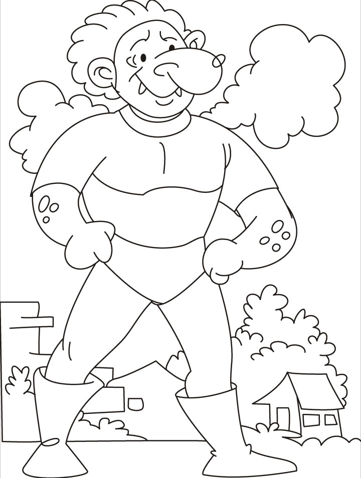 come test your strength says the tarzan giant coloring pages