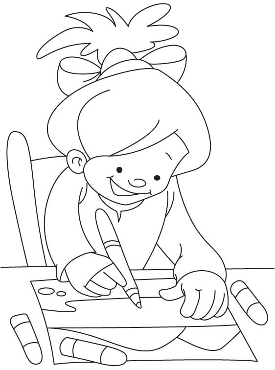 Girl drawing coloring page