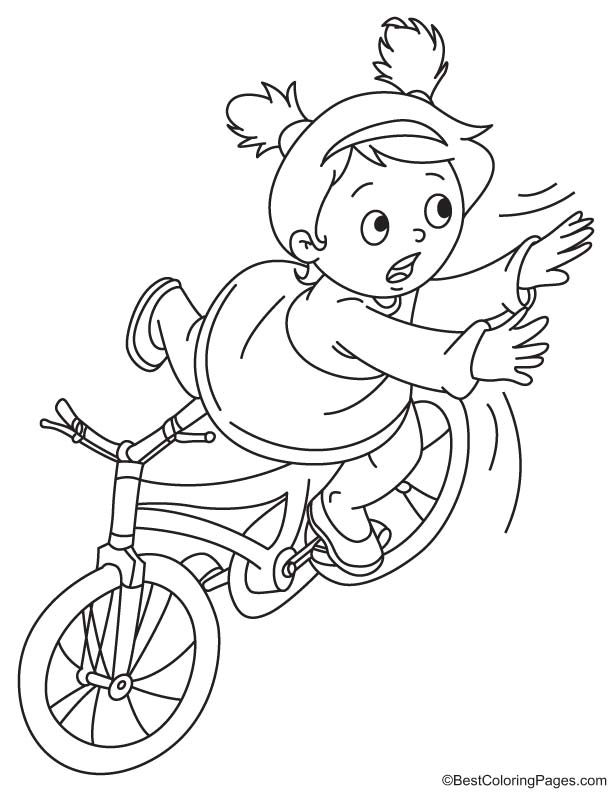 Girl falls off the bike coloring page