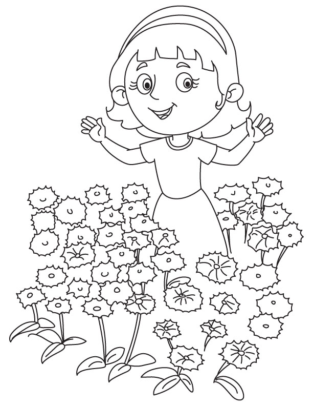 Girl in the cornflower garden coloring page
