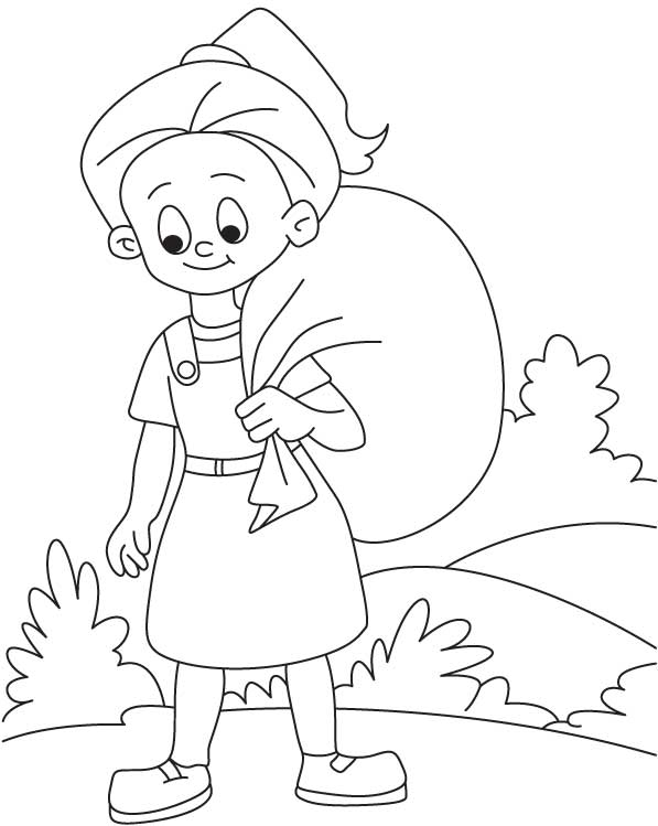 Girl on journey coloring page