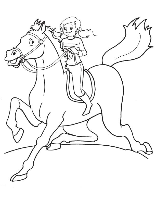 Girl participating horse race coloring page