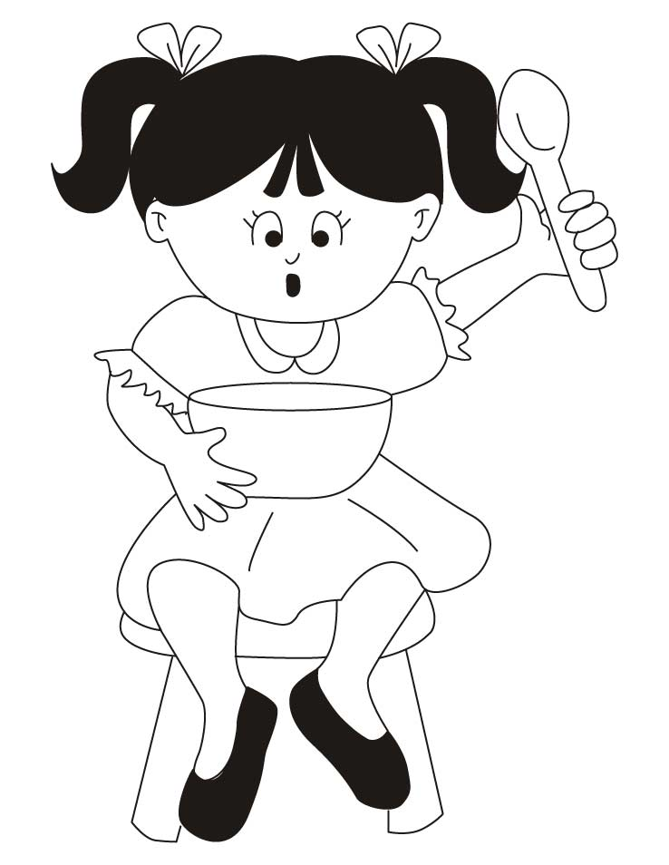 Girl wearing frock coloring pages
