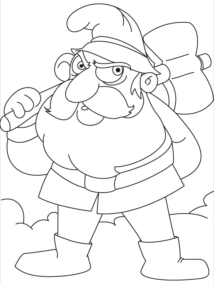 this gnomes is going to axe some woods coloring pages