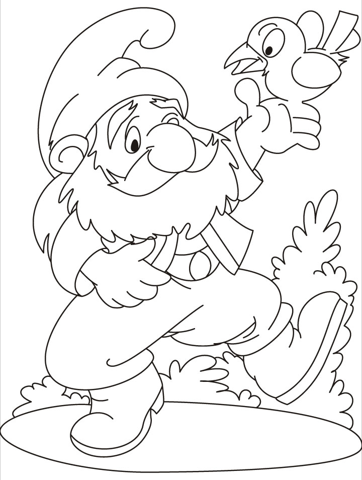 What a game a gnome and a bird on his hand coloring pages ...