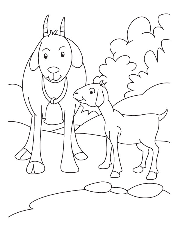 Kid With Mother Goat Coloring Pages